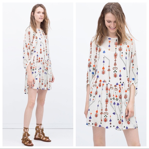 de66d7fe Zara Dresses | Embroidered Blouson Mini Shift Dress White | Poshmark